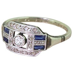 Art Deco Old Cut Diamond and Baguette Cut Sapphire Ring, French, Dated 1933