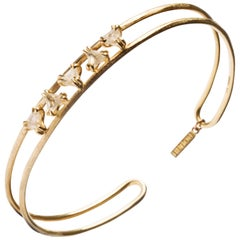 1.14 Carat Rough White Triangle Diamonds Yellow Gold Bangle Cuff Bracelet