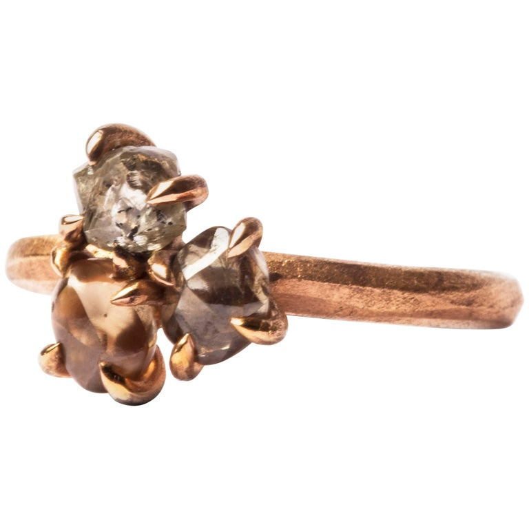 2.45 Carat Rough Brown and Grey Diamonds Rose Gold Cluster Ring