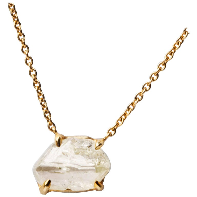 5.62 Carat Rough White Diamond Drop Pendant Necklace