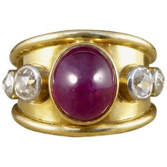 Vintage 1970s Ruby Cabochon and Diamond Ring in 18 Carat Gold