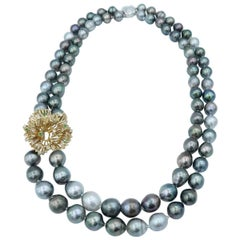 Boon Diamond Emerald Lacework Gold Baroque Tahitian Pearl Strand Necklace
