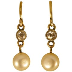 Antique Natural Pearl and Diamond Drop Earrings in 15 Carat Gold