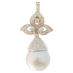 1980s Pearl and 0.50 Carat Diamond Necklace Enhancer