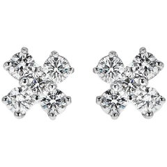 0.65 Carat Round Diamond White Gold Stud Earrings
