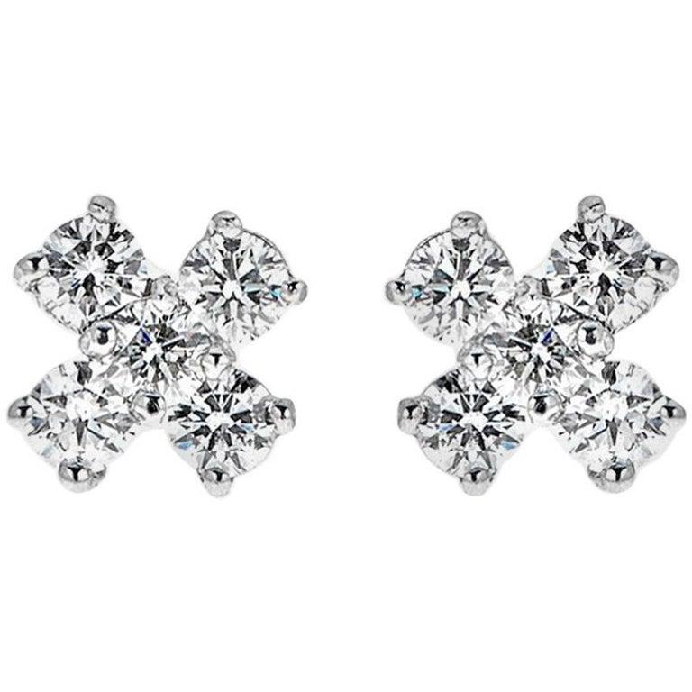 0.65 Carat Round Diamond White Gold Stud Earrings