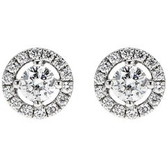 0.53 Carat Round Diamond Classic White Gold Stud with Halo