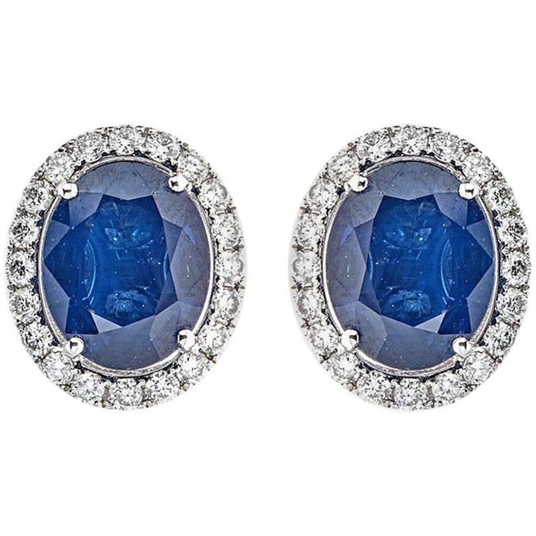 Oval Blue Sapphire with Round Diamond Earrings