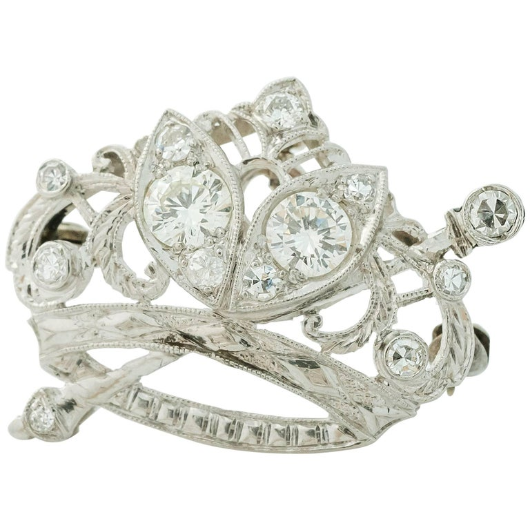 1930s Art Deco 0.85 Carat Diamond Crown and Scepter Convertible Brooch Pendant For Sale