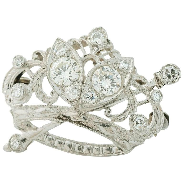 1930s Art Deco 0.85 Carat Diamond Crown and Scepter Convertible Brooch Pendant