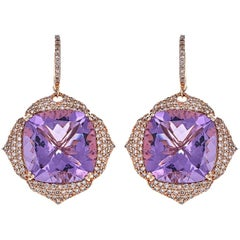 33.10 Carat Cushion Amethyst with Round Champagne Diamonds Rose Gold Earrings