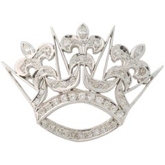 1930s 1 Carat Diamond Fleur-de-Lis Crown Convertible Brooch