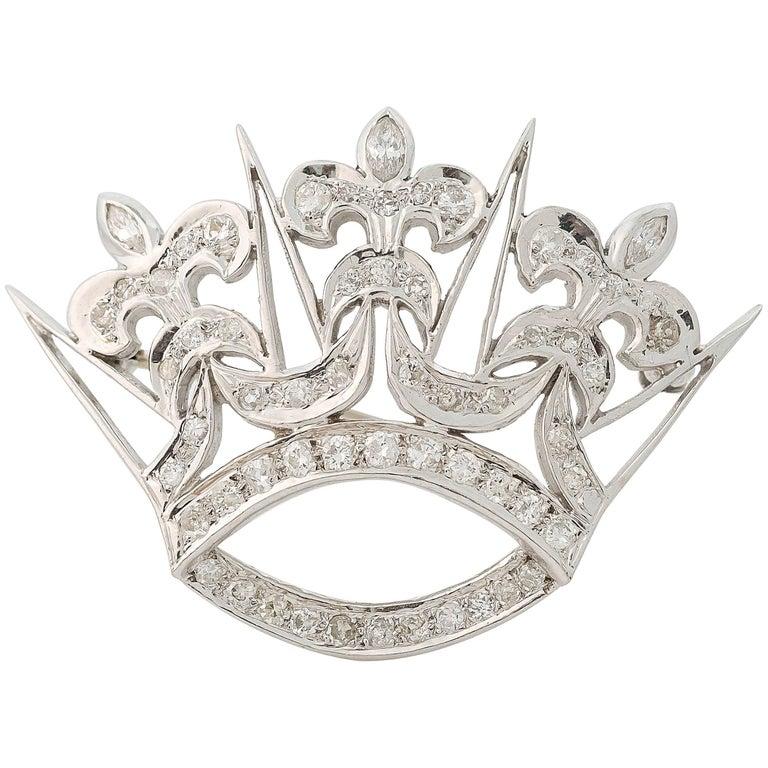 1930s Art Deco 1 Carat Diamond Fleur-de-Lis Crown Convertible Brooch