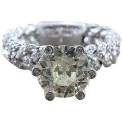3.50 Carat Round Diamond Gold Engagement Ring