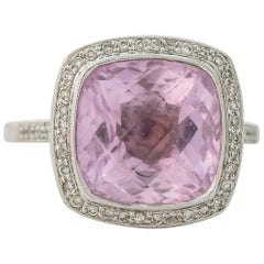 1990s 4 Carat Pink Topaz with Diamond Halo 14K Gold Ring