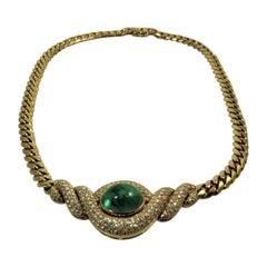 18 Karat Yellow Gold Diamond and Cabochon Emerald Necklace