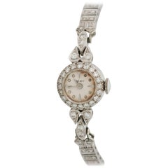 1920s Art Deco Pery Diamond and Platinum Ladies Wristwatch
