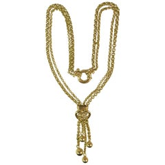 18 Karat Yellow Gold Double Strand Tassel Link Necklace with Heart Design