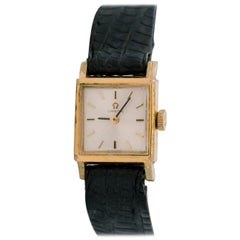 1950s Omega Square Tank 14K Gold Ladies Wristwatch
