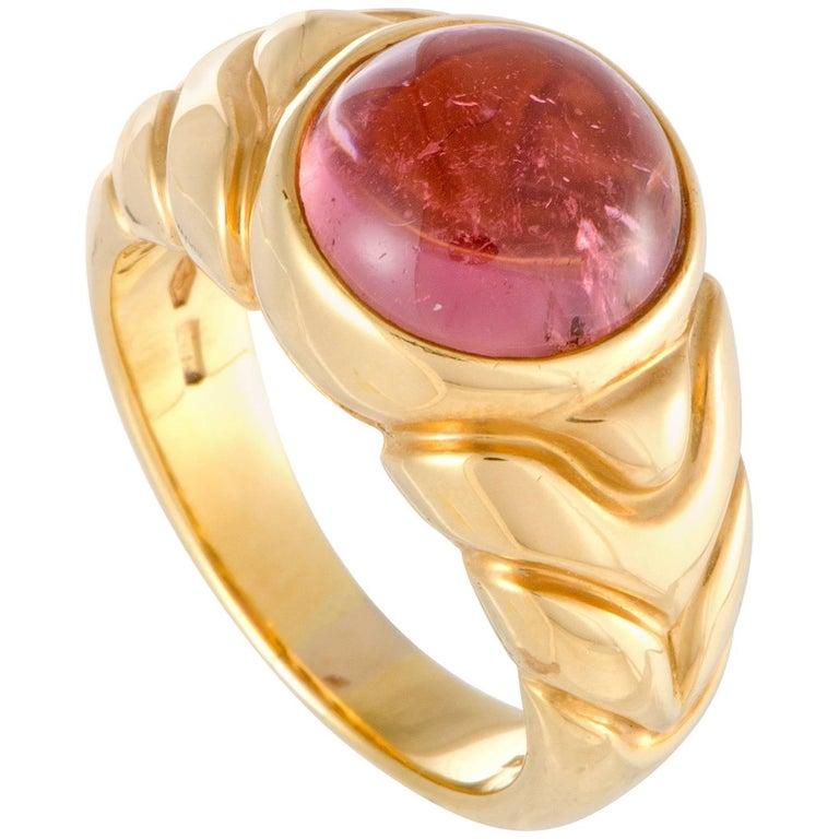 Bulgari Pink Tourmaline Yellow Gold Cabochon Ring