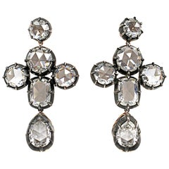 Romantic Rose Cut Diamond 19.42 Carat Total Weight Girandole Earrings