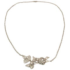 Platinum Necklace with Fancy Shape Diamonds Creating Floral Design
