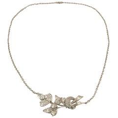Platinum Necklace with Fancy Shape Diamonds Creating Floral Design