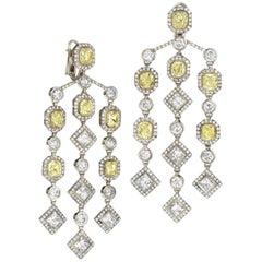 Fancy Yellow Diamond and White Diamond Chandelier Earrings