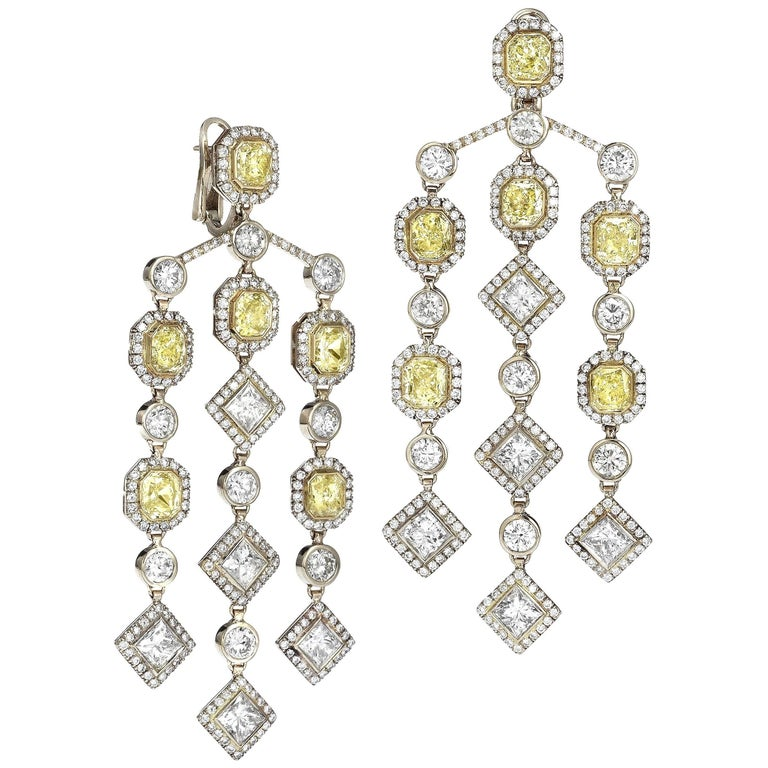 Fancy Yellow Diamond And White Chandelier Earrings For