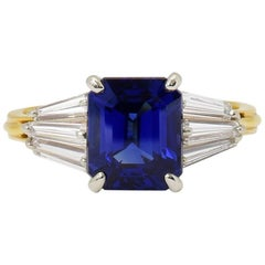 AGL Certified 3.77 Carat Blue Sapphire Diamond Yellow Gold Ring