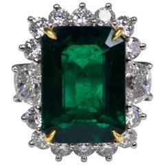7.78 Carat Emerald Cut Emerald Diamond Platinum Engagement Ring