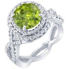 4.28 Carat Peridot Diamond Ring