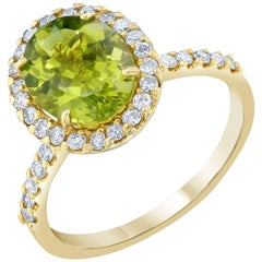 2.95 Carat Peridot Diamond Ring