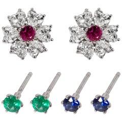 Floral Interchangeable Diamond Earrings Set, EGL Certified