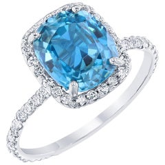 4.27 Carat Blue Zircon Diamond Engagement Ring in 18 Karat White Gold