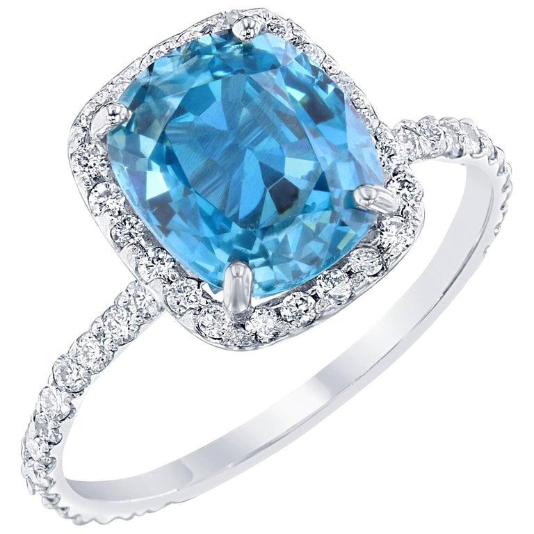 carat blue zircon diamond engagement ring in 18 karat white gold for sale at 1stdibs. Black Bedroom Furniture Sets. Home Design Ideas