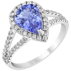 2.04 Carat Tanzanite Diamond Halo Ring