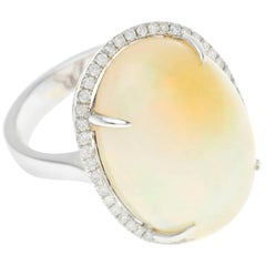 Opal Brilliant Cut Diamond 18 Carat White Gold Halo Cocktail Ring