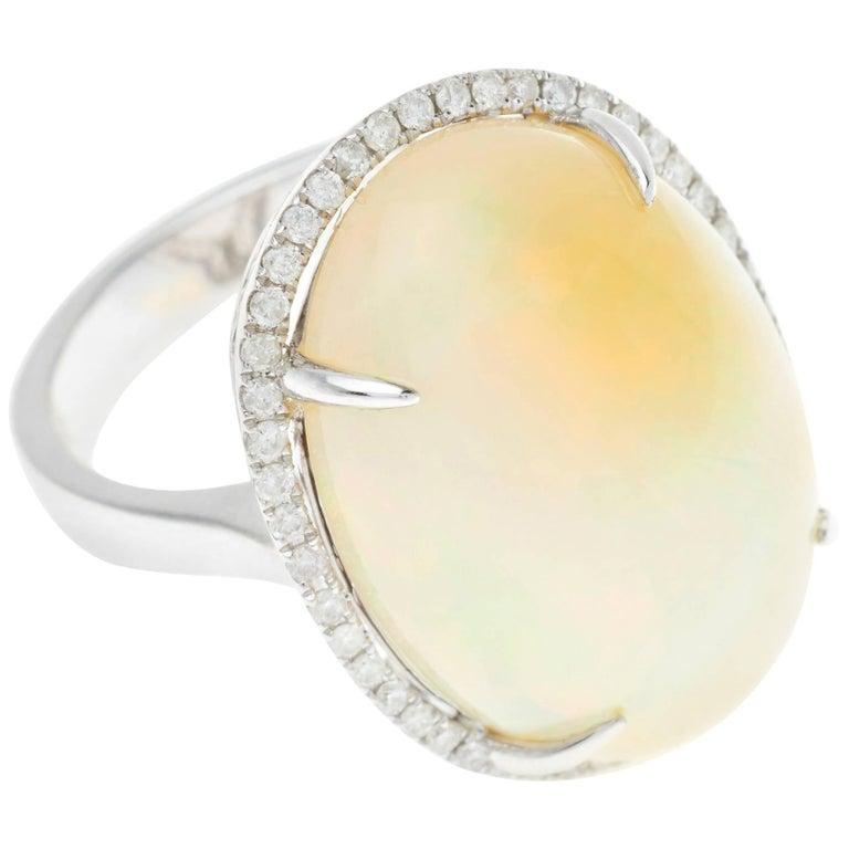 Large Opal 15.94 Carat Diamond 18 Carat White Gold Halo Cocktail Ring
