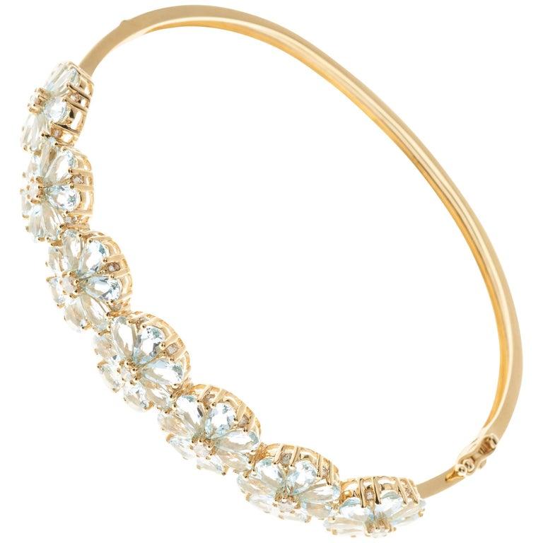 Aquamarine Diamond Fl Cer 18 Carat Yellow Gold Bangle Bracelet For