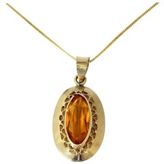 Vintage Oval Cut Citrine in Yellow Gold Pendant Necklace