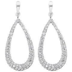 New Diamond Drop Hoop Earrings