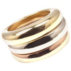 Cartier Stacking Tri-Color Gold Wide Band Ring