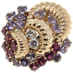 Rose Gold Garnets Ioliote and Diamonds Cluster Ring