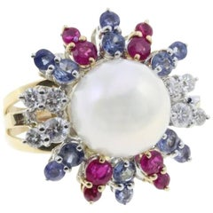 Rose and White Gold Rubies Sapphire Diamonds and Australian Pearl Ring