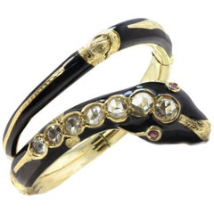 7.14 Carat Old Diamonds, Yellow Gold and Ruby Bracelet