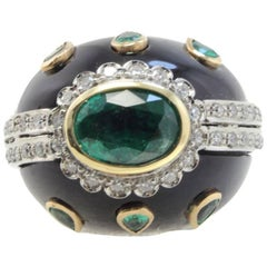 Onyx Emerald Rose and White Gold Diamonds Dome Ring