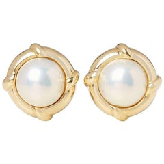 Tiffany & Co. Mabe Pearl Gold Earrings