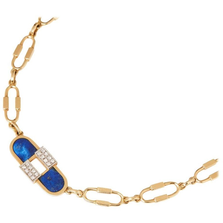 Cartier 18 Karat Yellow Gold Lapis Lazuli & Diamond Vintage Necklace  For Sale