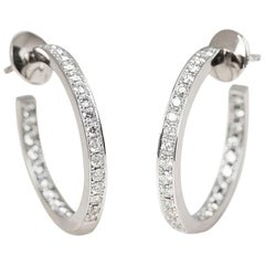 Cartier 18 Karat White Gold 1.20 Carat Diamond Inside Out Hoop Earrings